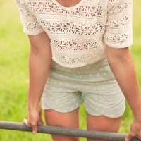 Lace Crop + Mint shorts