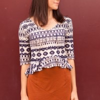 Rust Pencil Skirt + Tribal Crop